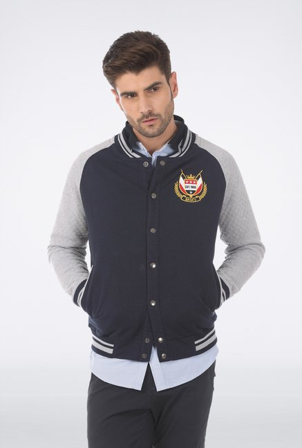 Basics Navy Cotton Casual Jacket