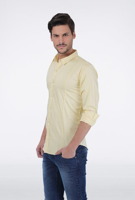 Basics Yellow Slim Fit Shirt