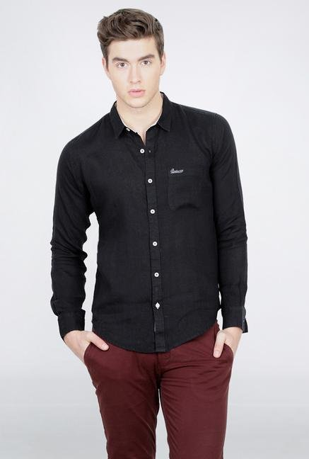 Basics Black Full Sleeve Linen Shirt