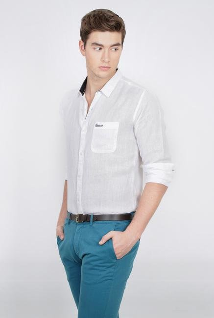 Basics White Slim Fit Linen Shirt
