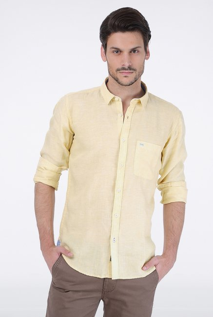 Basics Yellow Chambray Linen Shirt