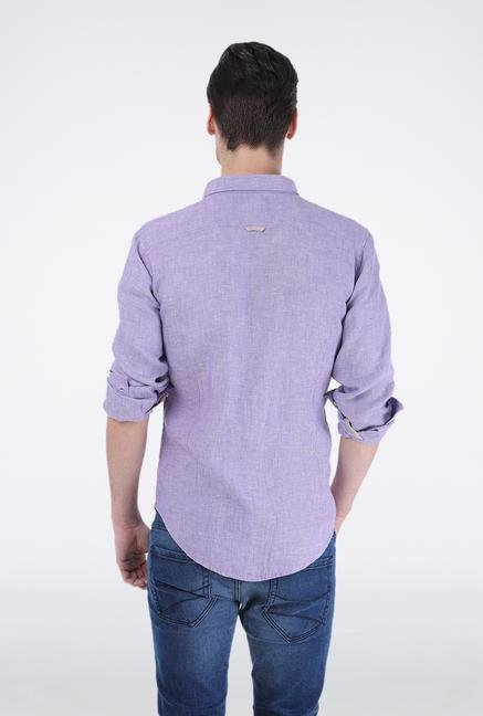 Basics Purple Chambray Linen Shirt