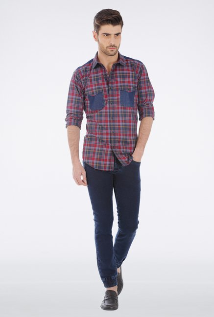Basics Red Plaid Casual Shirt