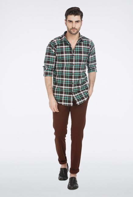 Basics Brown Plaid Casual Shirt