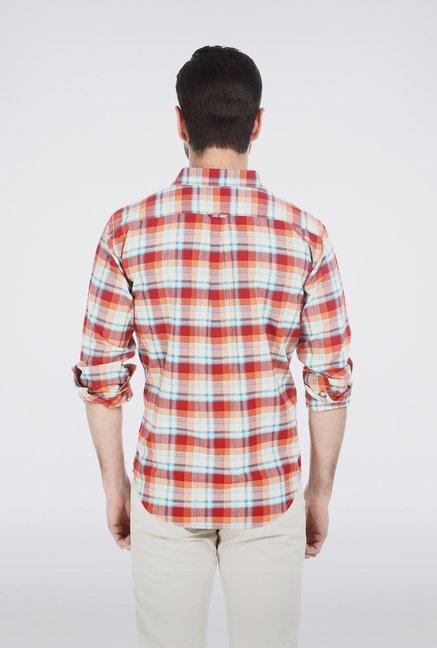 Basics Tango Red Checkered Shirt
