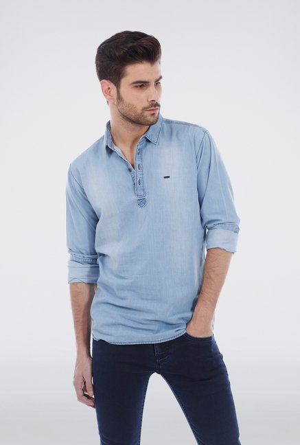 Basics Ice Blue Denim Shirt