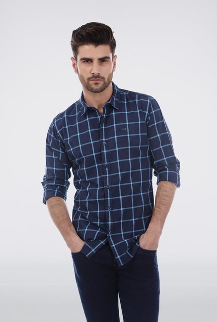 Basics Aqua Broad Checkered Shirt