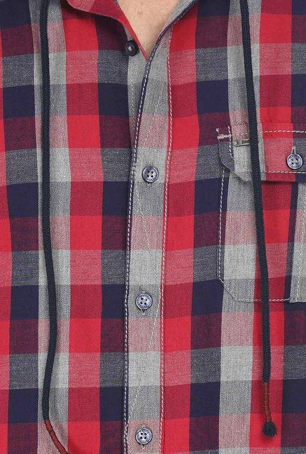 Basics Red Checkered Hood Shirt