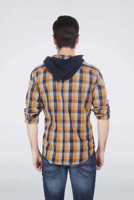 Basics Brown Checkered Hood Shirt