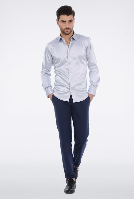 Basics Light Grey Slim Fit Formal Shirt