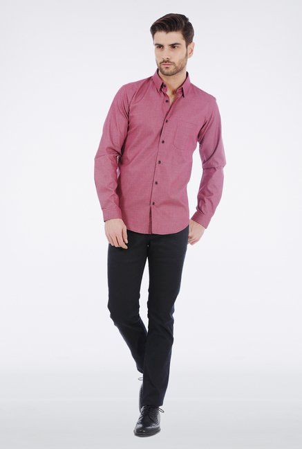 Basics Red Slim Fit Formal Shirt