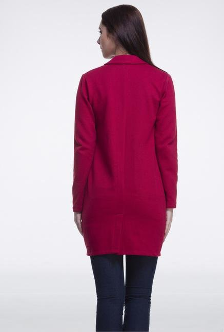Femella Maroon Fleece Casual Blazer