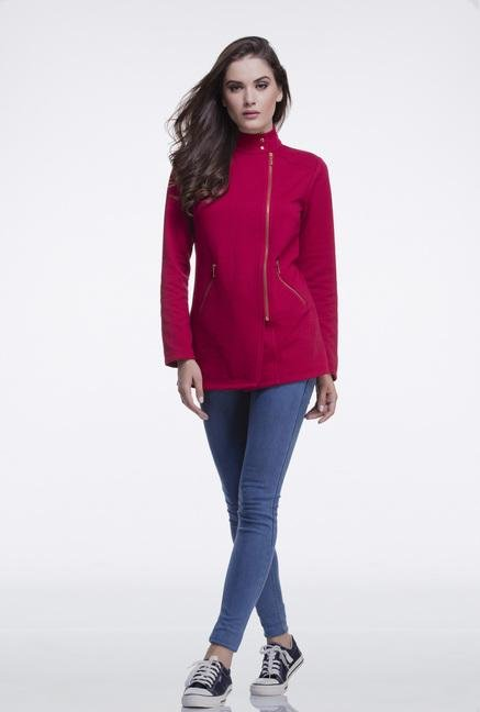 Femella Maroon Casual Zip Up Jacket