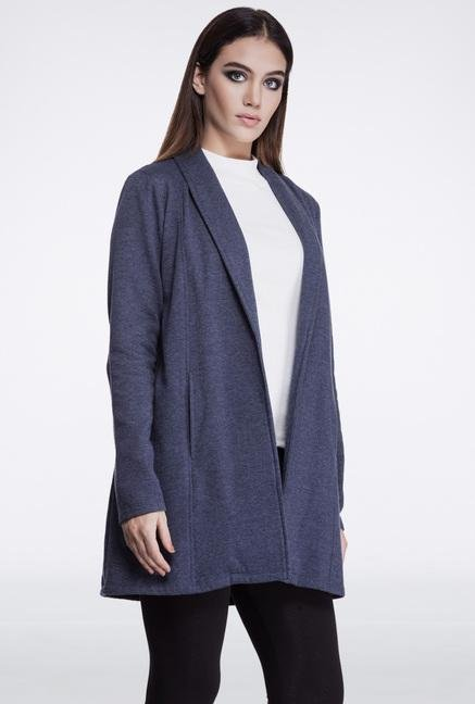 Femella Navy Fleece Casual Jacket