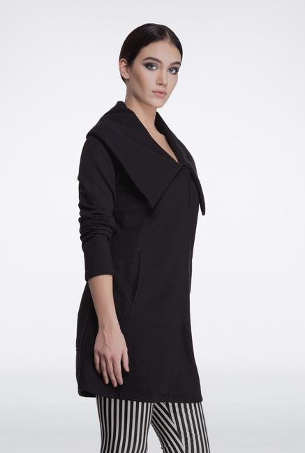 Femella Black Fleece Casual Jacket