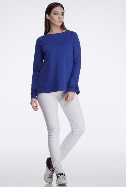 Femella Royal Blue Back Overlap Sweatshirt