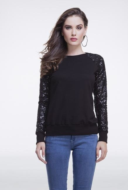 Femella Black Sequins Sweatshirt