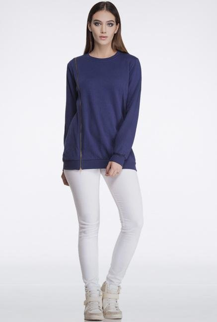 Femella Navy Oversized Zipper Sweatshirt