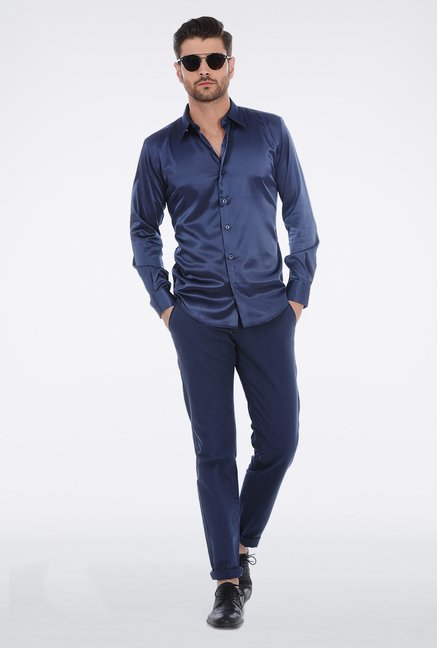 Basics Navy Slim Fit Shirt