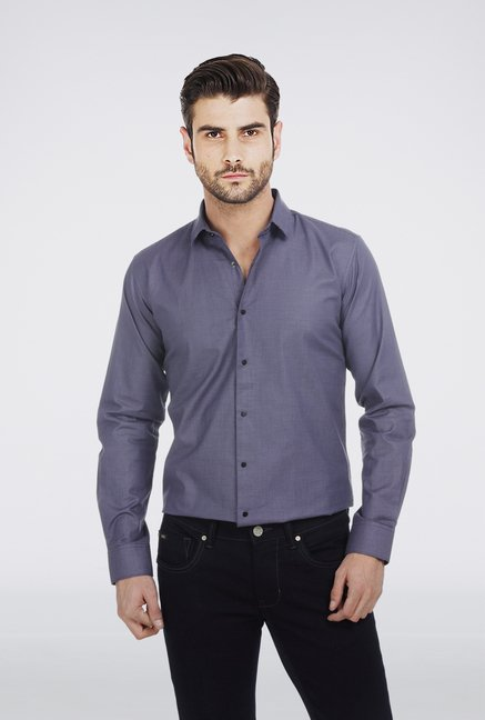 Basics Navy Micro Checkered Shirt