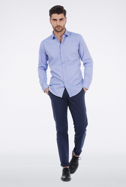Basics Blue Dobby Weave Shirt