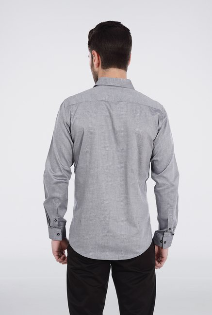 Basics Grey Dobby Weave Shirt