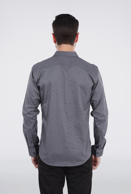 Basics Grey Micro Checkered Shirt