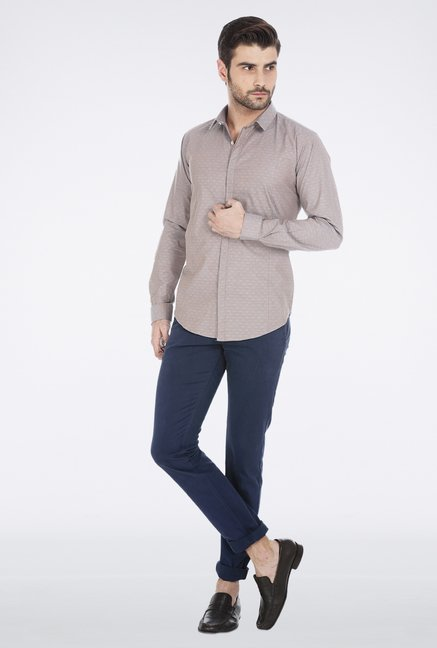 Basics Brown Slim Fit Formal Shirt
