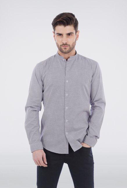 Basics Grey Mandarin Collar Formal Shirt