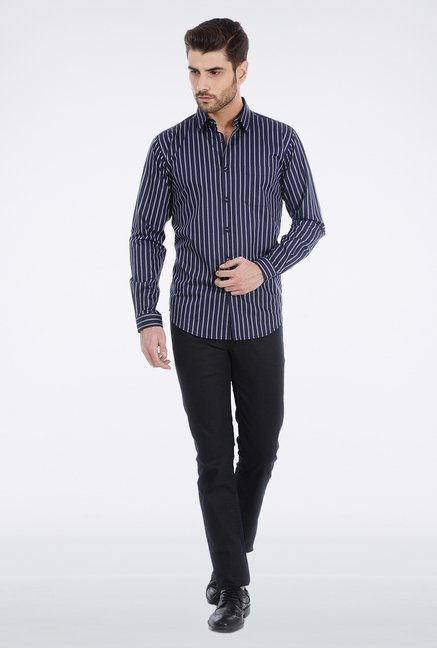 Basics Navy Pencil Stripe Formal Shirt