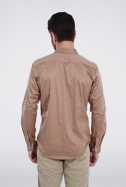 Basics Brown Dobby Weave Shirt