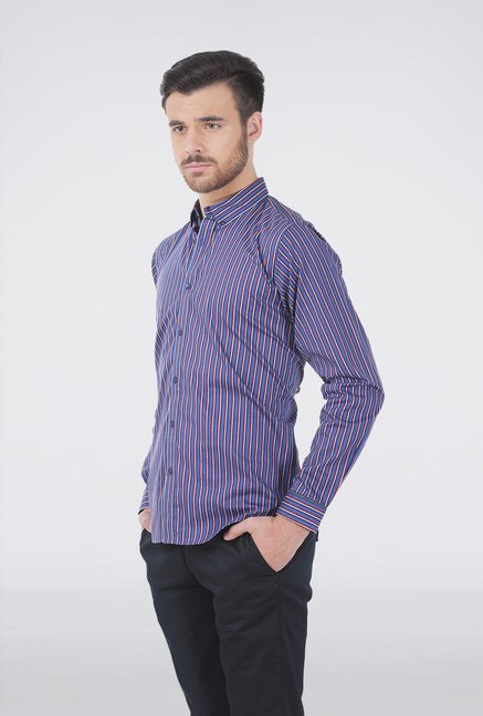 Basics Blue Multi Stripe Formal Shirt