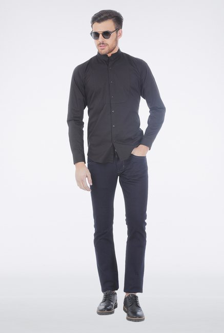 Basics Black Mandarin Collar Shirt