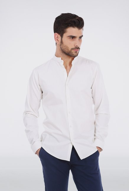 Basics White Mandarin Collar Formal Shirt