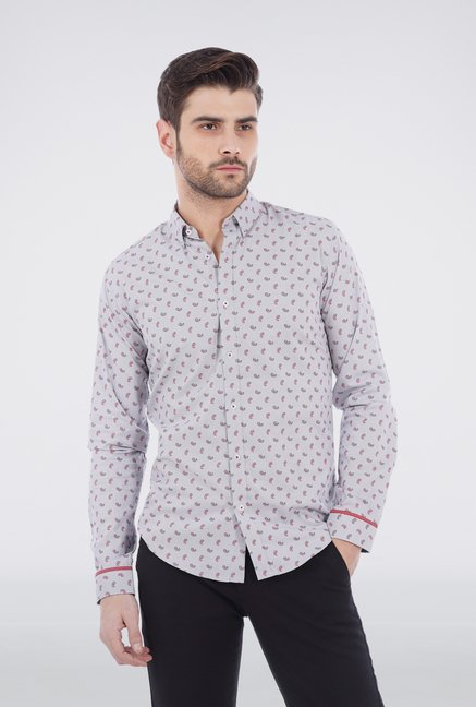 Basics Ash Grey Paisley Printed Formal Shirt