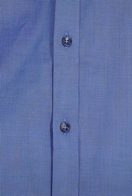 Basics Blue Micro Checkered Formal Shirt