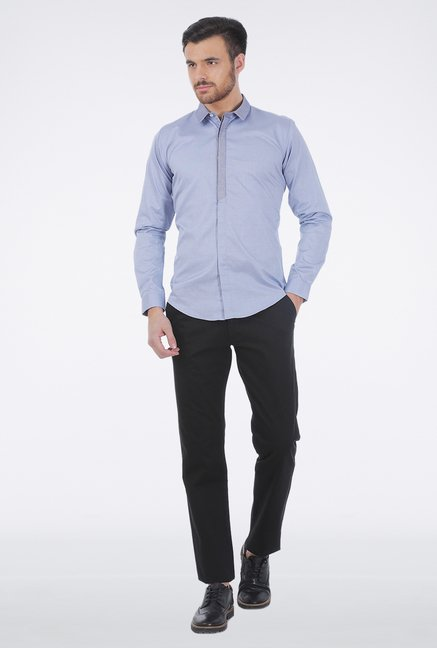 Basics Blue Slim Fit Formal Shirt