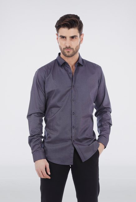 Basics Navy Long Sleeved Formal Shirt