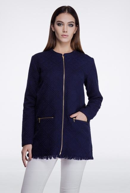 Femella Dark Blue Long Jacquard Jacket