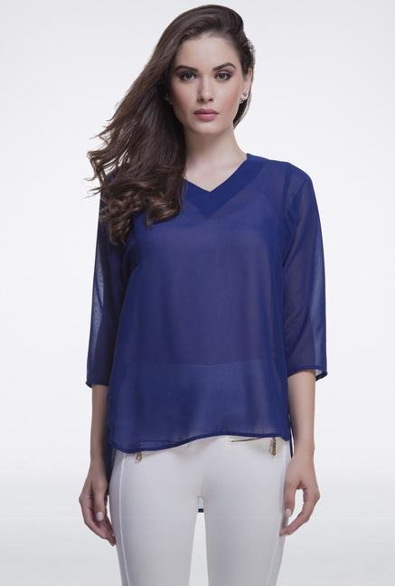 Femella Navy Oversized Top
