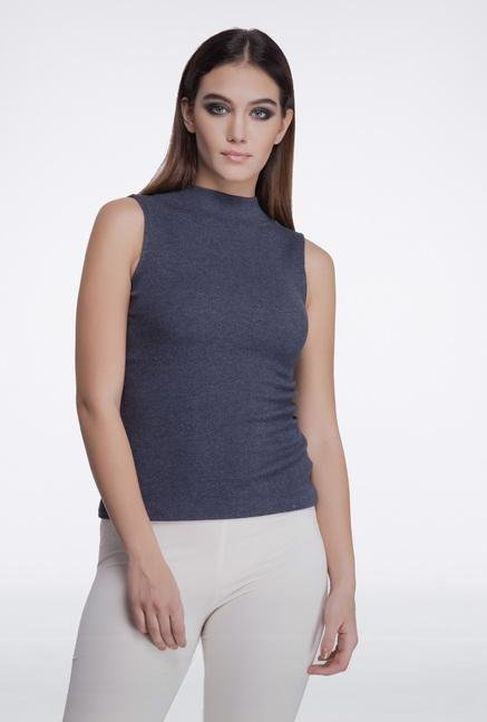 Femella Dark Grey High Neck Top