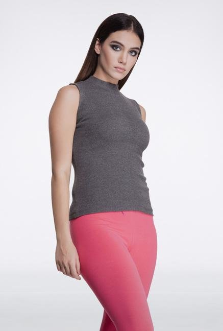 Femella Charcoal Grey High Neck Top
