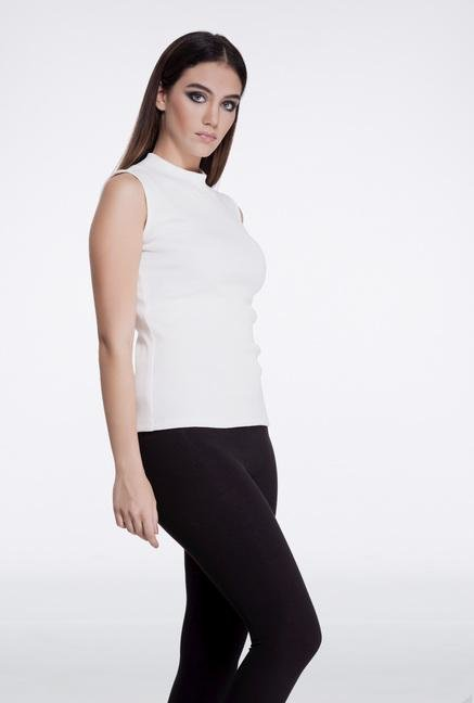 Femella White High Neck Top