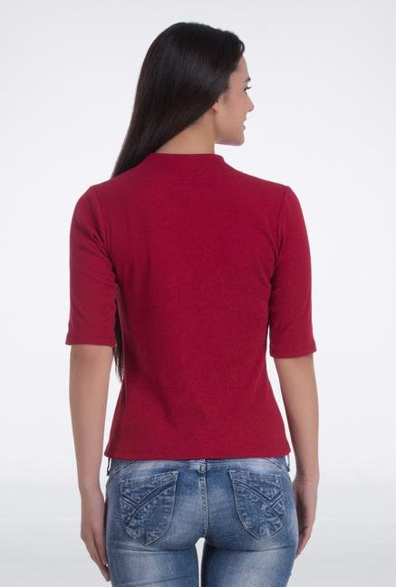 Femella Maroon High Neck Top