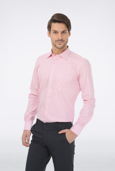 Basics Pink Checked Formal Shirt