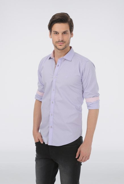 Basics Blue Printed Formal Shirt