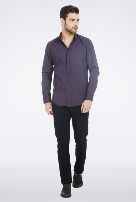 Basics Navy Printed Formal Shirt
