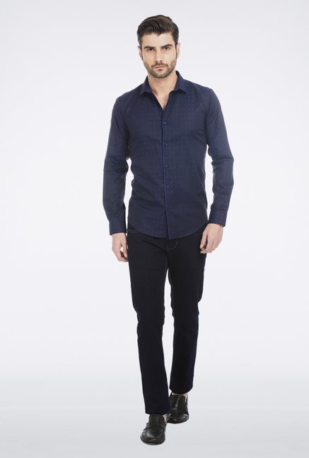 Basics Navy Jacquard Shirt