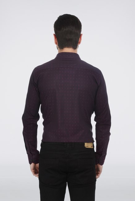 Basics Purple Jacquard Formal Shirt