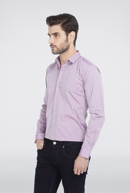 Basics Purple Floral Print Formal Shirt